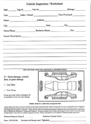 Vehicle Inspection Worksheet | Rev Dealer Supply | 7295Auto Dealer