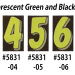 Fluorescent Green Black Number Window Stickers