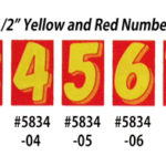 Yellow and Red Number Window Stickers