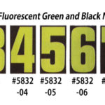 Fluorescent Green & Black Number Window Stickers
