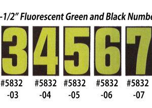 Fluorescent Green & Black Number Window Stickers