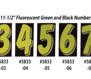 Fluorescent Green and Black Number Window Stickers
