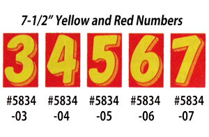 Yellow & Red Number Window Stickers #5834-XX