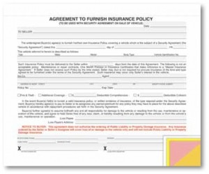 Agreement to Furnish Insurance Policy