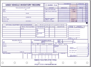 Vehicle Inventory Cards