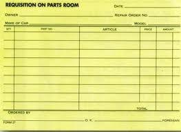 Parts Requisition Forms